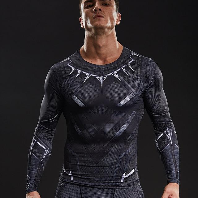 e7f5a28d4e Black Panther 3D Impresso T-shirt Tee Manga Longa Cosplay Trajes de  Halloween Capitão América