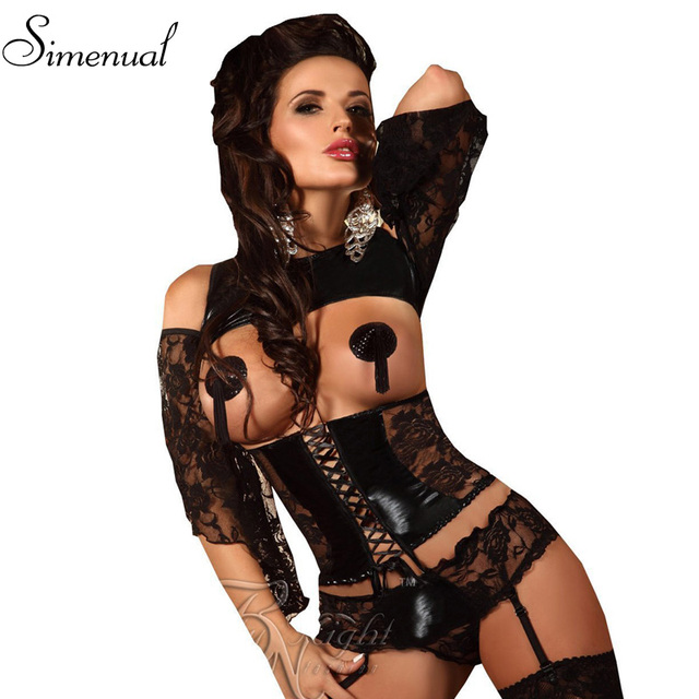 Lace Leather Patchwork Sexy Black Gothic Corset corselet costumes waist bodybuilding clothing women lingerie corsets & bustiers