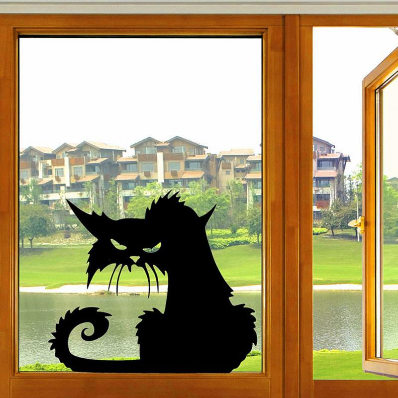 2017 Hot Popular Vinyl Removable 3D Wall Stickers Halloween Black Cats Decor Decals for Walls Home Decoration