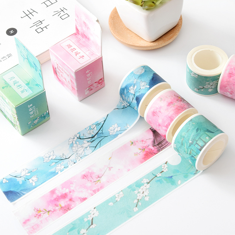 Mountain Stream Flowers Decorative Washi Tape DIY Scrapbooking Masking Tape School Office Supply Escolar Papelaria 1 5cm 7m flowers fox steamer mushroom decorative washi tape scotch diy scrapbooking masking craft tape school office supply