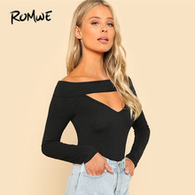 aa4685e8e70ab ROMWE Black V Neck Cut Out Solid Sexy T-Shirt Autumn Long Sleeve Shirt  Women 2019 Off The Shoulder Tops For Womens Slim Fit Tee
