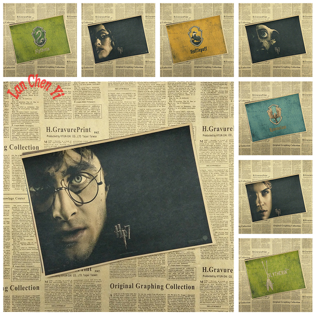 Harry Potter  Drawing core  Classic Movie Kraft Paper Poster Bar Cafe Living Room Dining room Wall Decorative Paintings