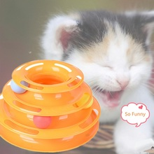 Funny Pet Toys Cat Crazy Ball Disk Interactive Amusement Plate Play Disc Trilaminar Turntable Cat Toy все цены