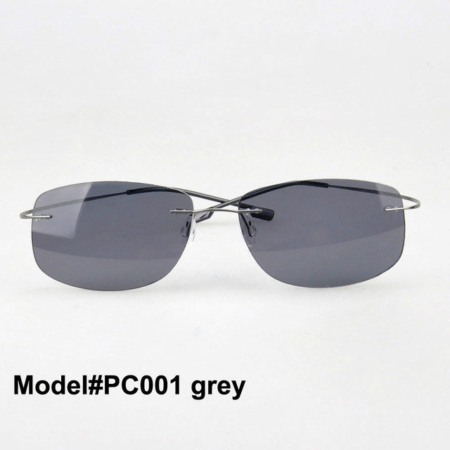 PC001   Free shipping rimless memory titanium eyewear polarized polycarbonate sunglasses