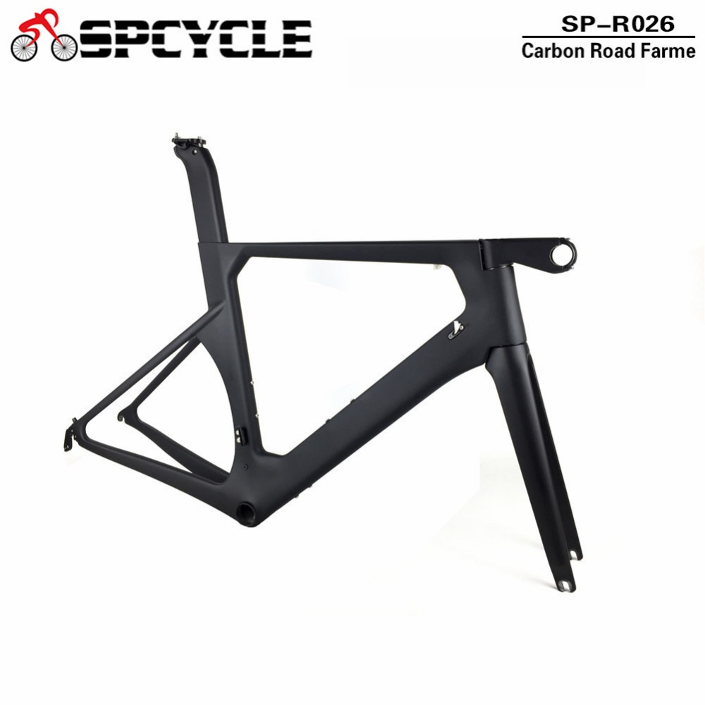 Spcycle 2018 New Monocoque Aero Carbon Road Bike Frame One Piece Mould T1000 Carbon Road Bicycle Frameset With Stem Headset BB86 2017 carbon bicycle frame carbon road frames carbon frameset bb86 bsa frame aero road bike frame accept paint