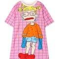 Mujeres camiseta 2016 verano nueva chica fea gráfico impresión de manga corta elegante camiseta top mujer ladies loose camiseta a cuadros de color rosa Camiseta
