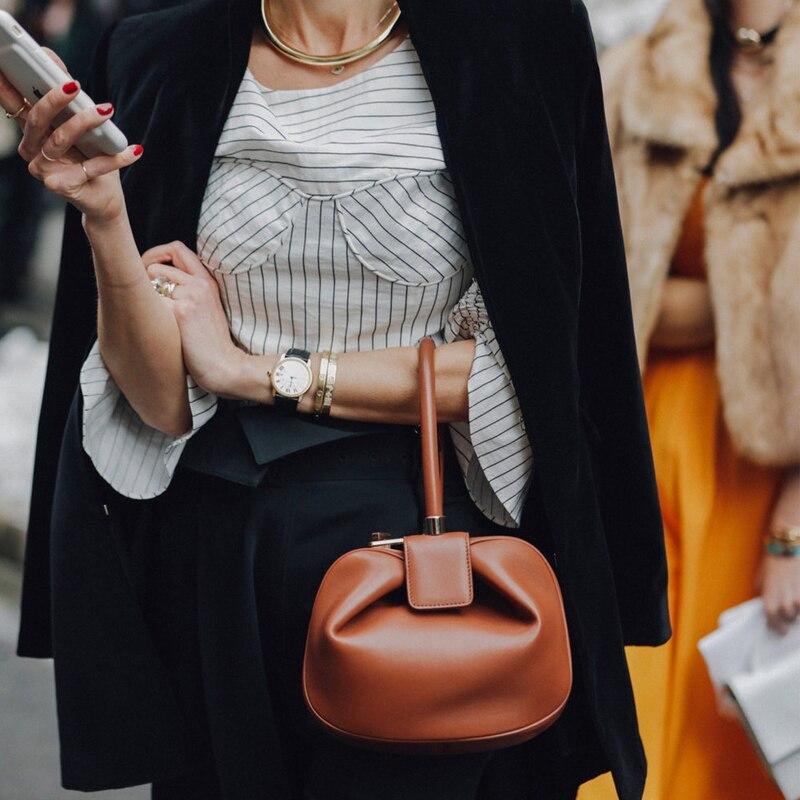 Aliexpress.com   Buy Elegant Genuine Cow Leather Women Round Dumpling Bag  Small Clutch Purse Evening Wrist Bag Ladies Top handle Handbag Classic Hobo  from ... 4fa838cab9