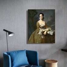Mrs. Daniel Hubbard by Copley Wall Art Canvas Poster and Print Painting Decorative Picture for Living Room Home Decor