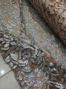 Image 4 - Nigerian French Fabric High Quality JIANXI.C 52205 Best Selling African Lace Fabric Glued glitter sequins Tulle Lace Fabric