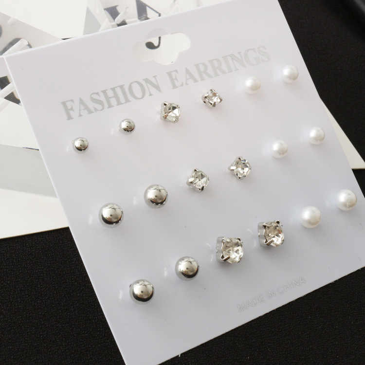 9 Pairs/set Classic Women's Round Ball Metal Pearl Earrings For Women Girl Gifts Crystal Stud Earring Sets Mix Jewelry