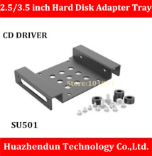 Free Shipping SU501 2.5 inch to 3.5 inch Hard Disk Adapter Tray CD DRIVER SATA built-in aluminum alloy Support size SSD