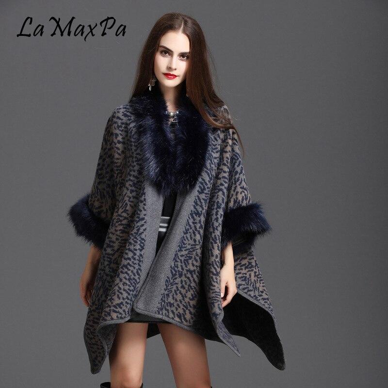 LaMaxPa New Autumn Winter Large Loose Imitation Fox Fur Shawl Printed Coat Cloak Femme Elegant Wrap Cape Mujer Falso Pelaje Chal