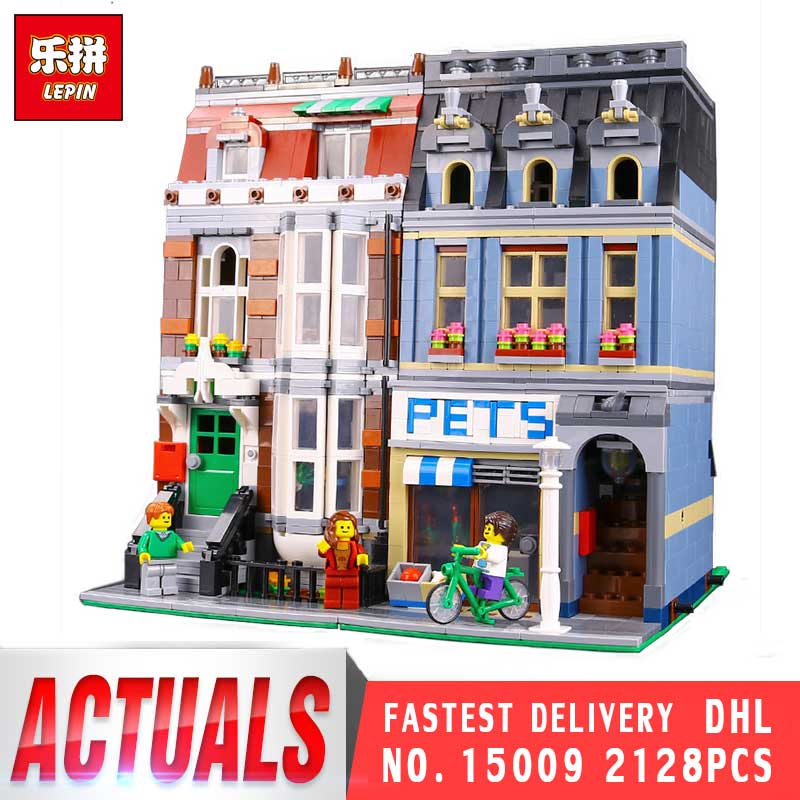Lepin 15009 City Street Series Pet Shop Supermarket Model Sets LegoINGys 10218 Building Bricks Nano Block Kids Toys For boy lepin 15009 city street pet shop model building kid blocks bricks assembling toys compatible 10218 educational toy funny gift