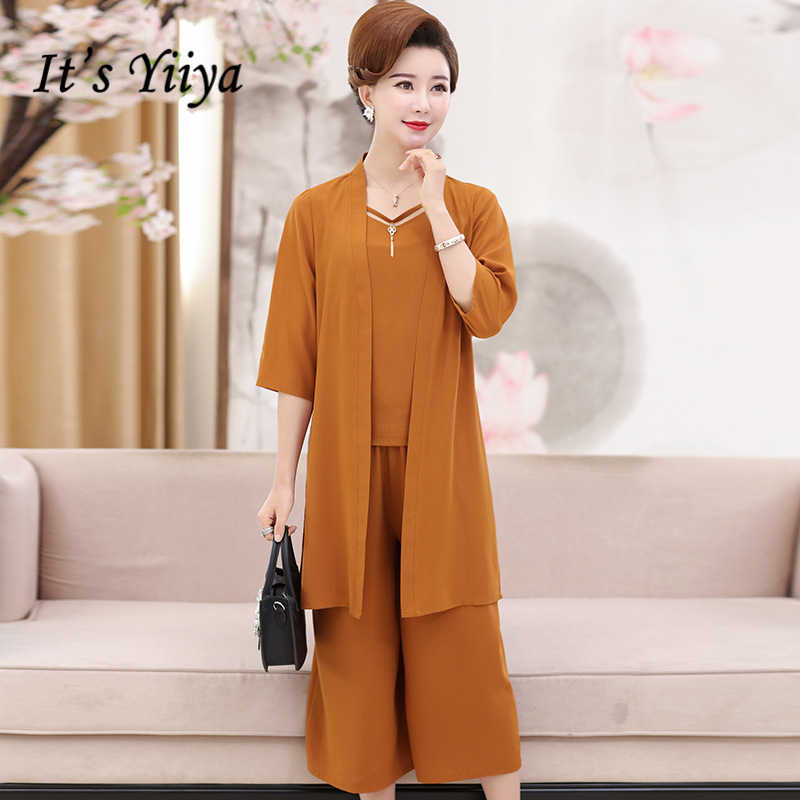 9ac6d566428 Detail Feedback Questions about It s Yiiya Mother of the Bride Dresses Plus  Size Summer 3 Piece Set 2 Colors Solid V Neck Fashion Elegant Mother Dress  M018 ...