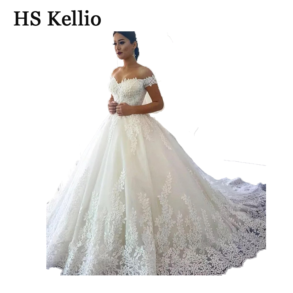 Wedding Dress Real Sample Lace Appliques Ball Gown Bridal Dress With 1 m Tail-in Wedding Dresses from Weddings & Events