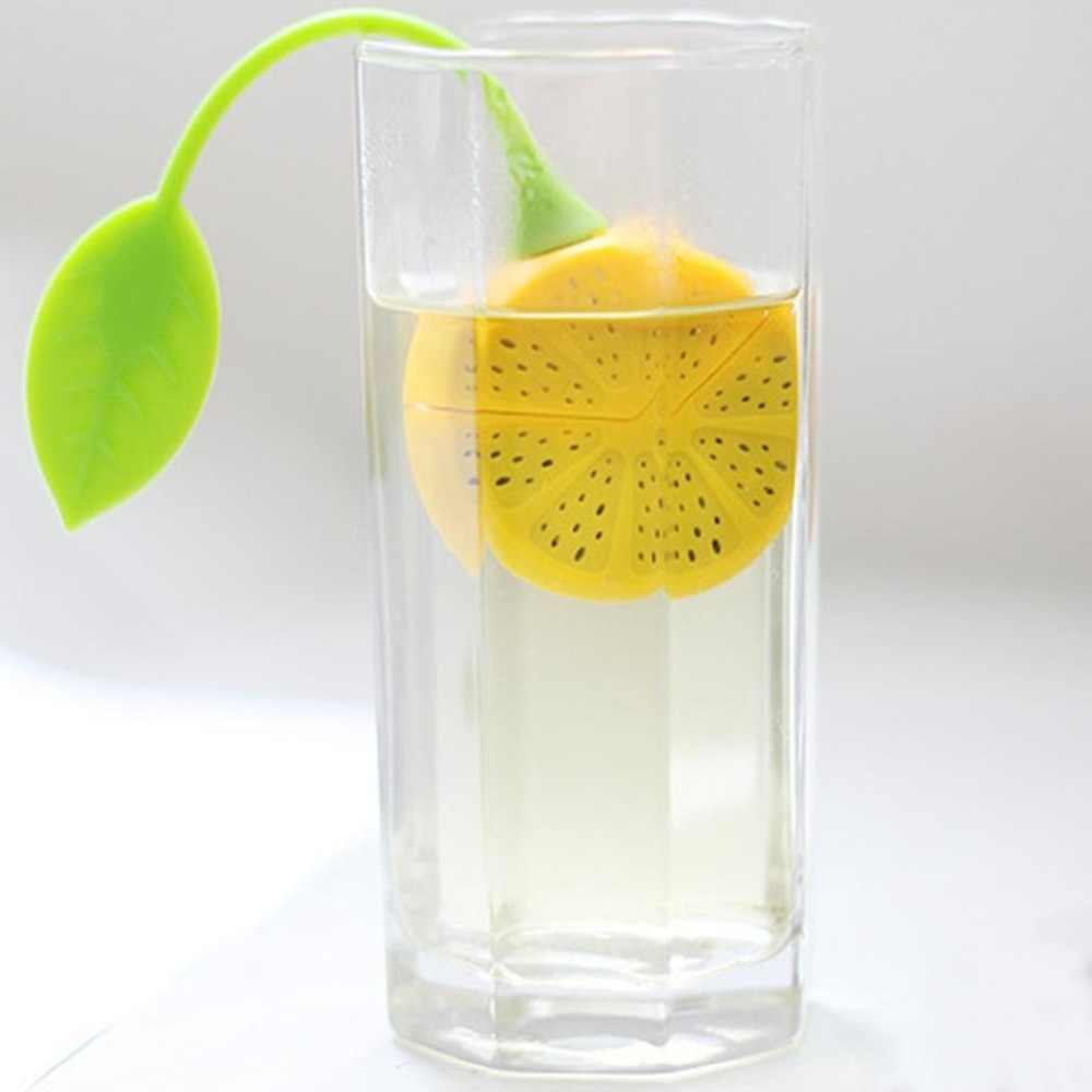 Reuseable Food safe Silicone Yellow Lemon Shape Tea Leaf Bag Holder Tea Coffee Herb Punch Filter Tea Infuser