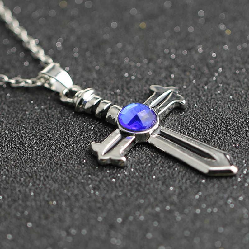 Fairy Tail Ketting Grijs Fullbuster Cross Blue Crystal Zilveren Kleur Hanger Anime Mode-sieraden Voor Mannen En Vrouwen Groothandel