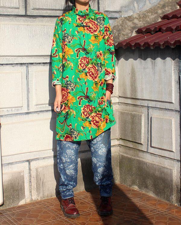 Китайский национальный стиль ретро хлопок, воротник-стойка лягушка длинный рукав блузки с боковыми разрезами длинное платье чонсам - Цвет: see chart