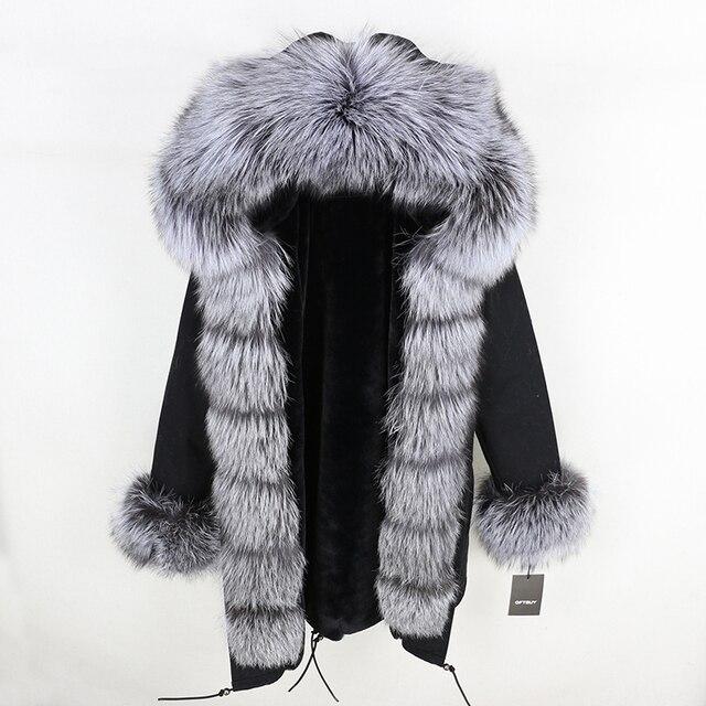 OFTBUY 2019 fashion winter jacket women real fur coat natural real fox fur collar loose long parkas big fur outerwear Detachable 3