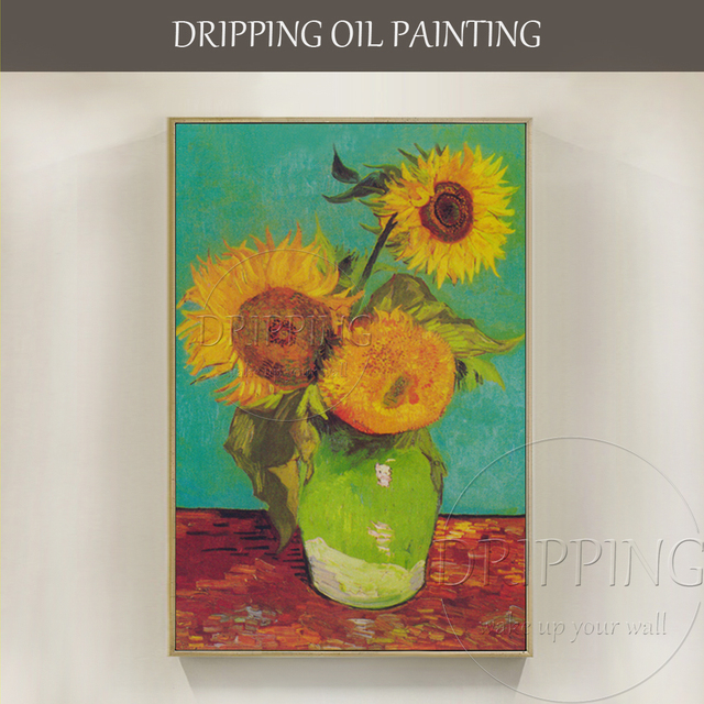 Beautiful Sunflower Oil Painting Hand Painted Van Gogh Impression