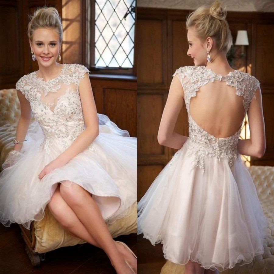 Elegant Lace Sleeve Short Wedding Dresses 2016 Scoop Neck: Fashion A Line Short Wedding Dress 2016 Sexy Scoop Neck