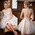 Moda A Linha de Vestido De Noiva Curto 2016 Sexy Pescoço Da Colher Backless da Luva do Tampão Vestido De Noiva Frisada Lace Vestidos de Noiva