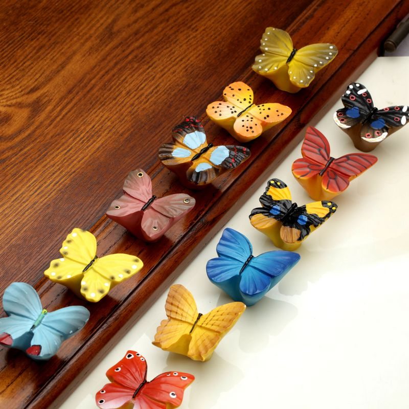 1pcs Butterfly Furniture Pulls Resin Closet Drawer Handle and Knobs Cabinet Door Handles Pull Home Hardware 96mm cabinet handles palace euro style furniture ivory with 24k golden knobs closet door handle drawer pulls bars