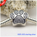 Fits Pandora Bracelets Paw Silver Beads With Cubic Zirconia New 100% 925 Sterling Silver Charms DIY Jewelry Wholesale