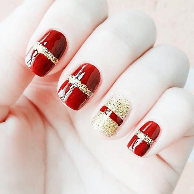 Elegante 24 unids/set rojo + polvo de destello de oro diseño ...