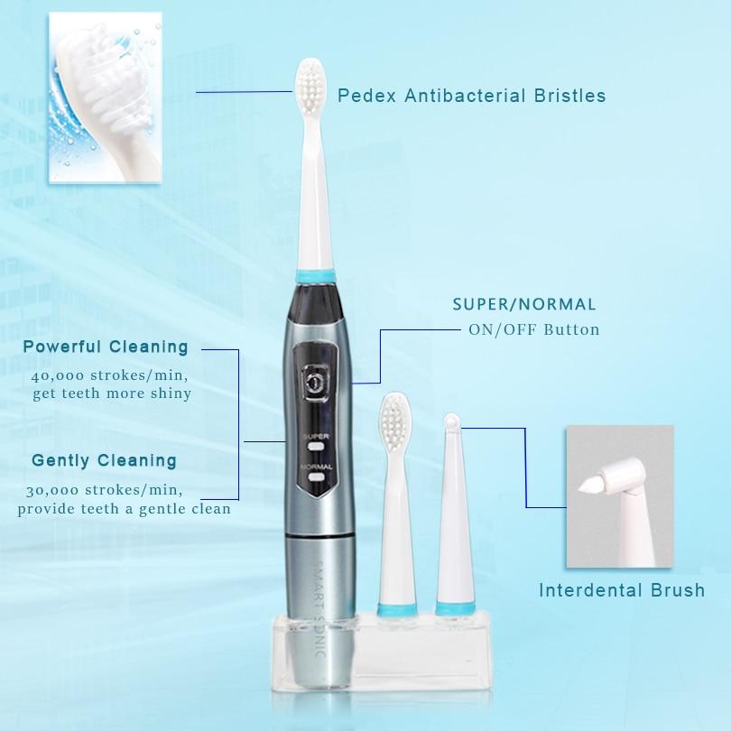 SEAGO Electric Toothbrush Battery Powered Toothbrush 40,000 vpm Gum Health Sonic Toothbrush Electric Tooth Brush Whitening SG910