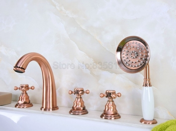 Antique Red Copper Bathroom Tub Sink Faucet with Hand Shower Deck Mounted 5 Holes Three Cross Handles Bathtub Taps ttf238