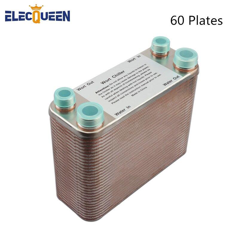 Refroidisseur de moût de 60 plaques, plaque de filetage de tuyau d'arrosage en acier inoxydable 304, échangeur de chaleur à plaques à haut rendement homebrassage, Port 3/4 NPT