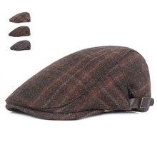 Moda Otoño primavera sombreros para hombres de algodón a cuadros de boina 4688d8ee14b
