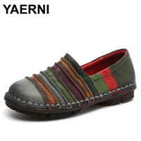 YAERNI Soft Soles Genuine Leather Shoes Women Personality Casual Women Fashion Shoes Handmade Shoes Mixed Colors