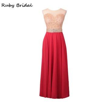 Ruby Bridal Vestido De Festa Long A-line Evening Dresses Black Chiffon Appliques Beaded Cap Sleeves Cheap Party Prom Gown KE40