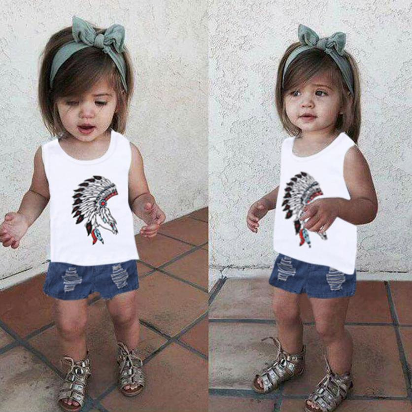 Fantastic 2Pcs Toddler Kids Baby Girls Print Tops+Denim Shorts Outfits Clothes Set Fashion Toddler Baby Costume Children Coth