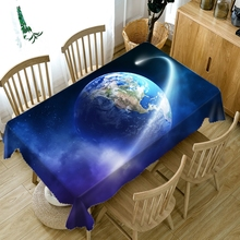 Customizable 3D Tablecloth Blue Outer Space Planet System Pattern Washable  Polyester Dustproof Wedding or Dining table Cloth