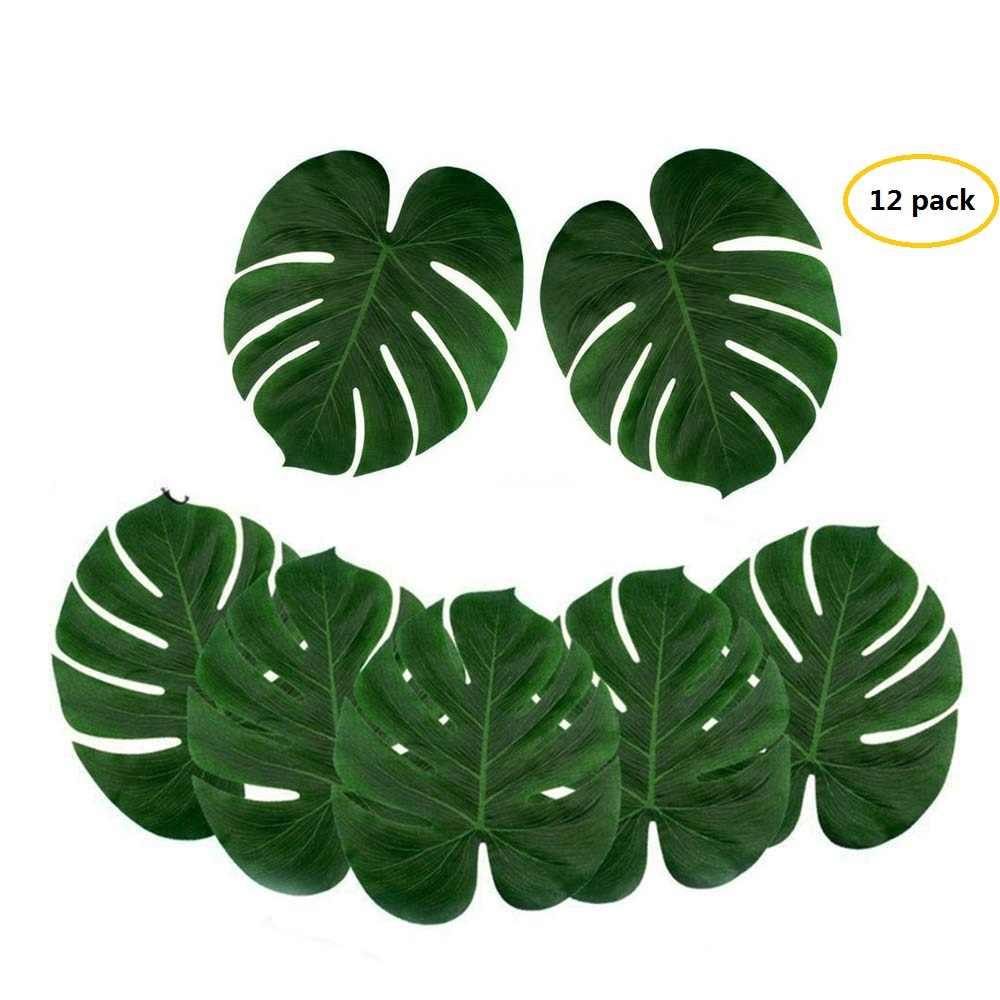 12 pièces feuilles de palmier artificielles plante tropicale Faux feuilles Safari feuilles pour la maison, cuisine, fête, mariage, décoration de Table