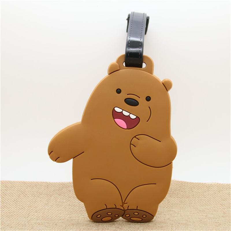 Cartoon We Bare Bears Travel Accessories Luggage Tag PVC Gel Suitcase ID Addres Holder Baggage Boarding Tags Portable Label
