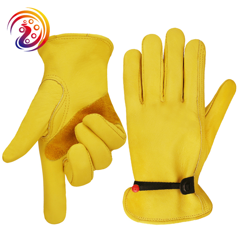 Summer Grain Cowhide Leather Work Gloves Stong Leather Palm Durable Flexible Construction Working Glove 5 Pairs