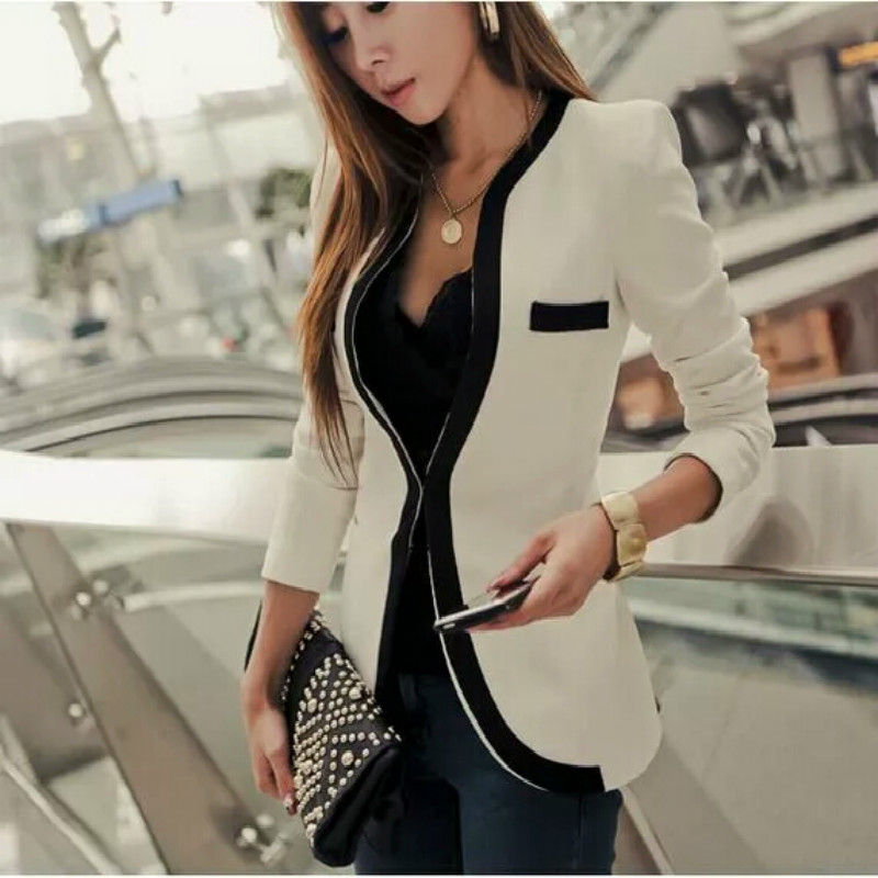 Spring/summer Blazer Women OL Ladies Blazer Slim Women Suit Jacket Black White Trim Formal Jackets Plus Size Blazers And Jackets