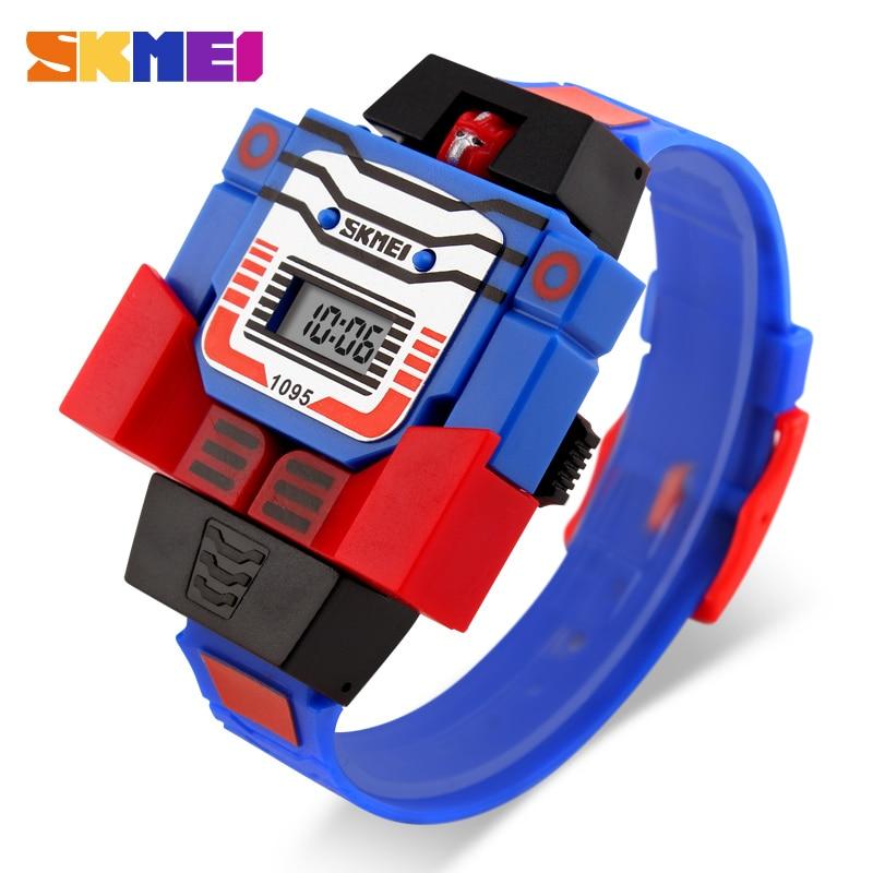 SKMEI Kids Watches LED Digital Children Cartoon Sports Watches Robot Transformation Toys Boys Wristwatches Montre Enfant 1095