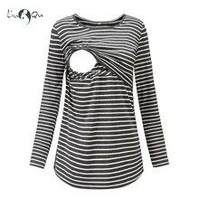 89b6a86a60c40 Nursing Top Striped Maternity Clothes Breastfeeding Tops Pregnancy Blouse T-shirt  Maternity Clothes Pregnant Womens