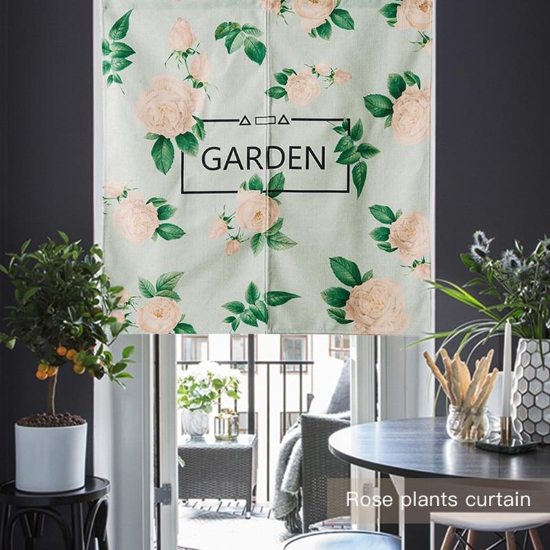 european garden flowers floral door curtain linen tapestry children study bedroom home decor bedroom kitchen curtain - Open Garden Decor