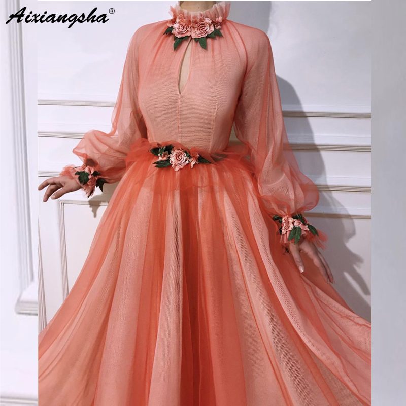 Orange Muslim   Evening     Dresses   2019 A-line Long Sleeves High Neck Tulle Islamic Dubai Kaftan Saudi Arabic Long   Evening   Gown Prom