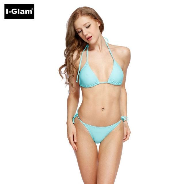 154796f9b9e I-Glam 2018 Sexy Women Halter Swimwear Brazilian Bikini Bottom Thong  Swimwear Mini String Micro