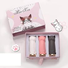 BellyLady 3 Pcs/set Cartoon Cat Lipstick Makeup Set Waterproof Long Lasting Crystal Moisturizing