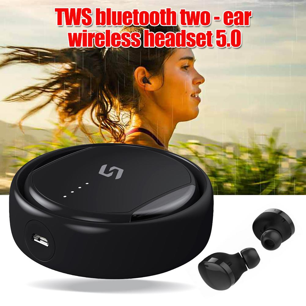 Rotary <font><b>TWS</b></font> Wireless Bluetooth V5.0 In-Ear Earphone Stereo Earbuds Mic Headphone Good quality image