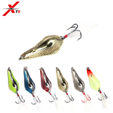 XTS Fishing Lure 33mm/37mm/42mm/48mm Artificial Metal Sinking Double Hole Spoon Bait 6 Colors Bass Pike Tackle 3404