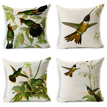 2019 NEW Cute Green Hummingbird Cushion Cover Throw Pillow Cover Cotton Linen Decorative Cushion Cover for Sofa Car Pillow case цены